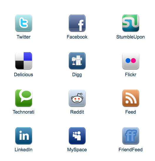 Digg, Facebook and other social media buttons