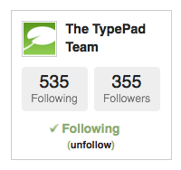 follow TypePad on our profile
