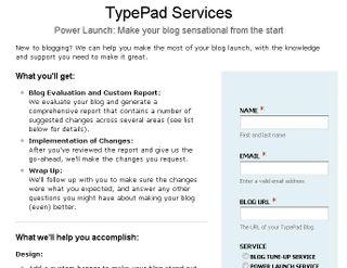 Freshbooks widget on TypePad services page