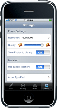 TypePad for iPhone Settings