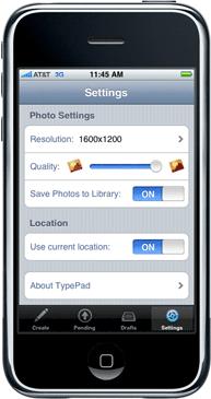 TypePad for iPhone Settings