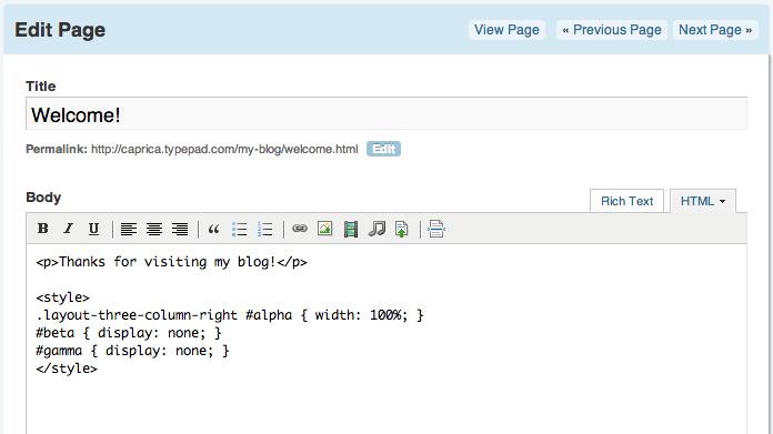 Edit Page HTML