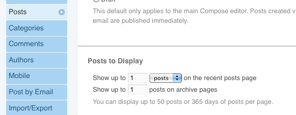 Posts to display