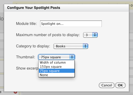 Spotlight thumbnail settings