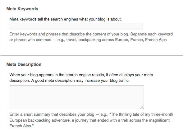 Meta elements for your blog