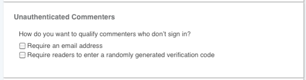 Unauthenticated commenters settings