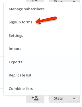 List signup forms