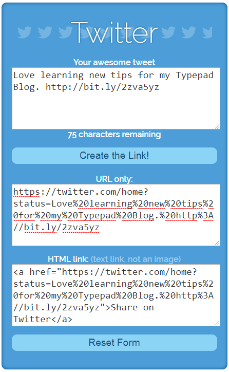 Tweet this! Using Share Link Generator to embed custom