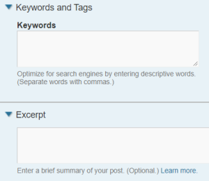 Pagepost keywords and description