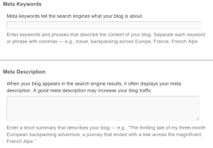 Keywords and Description for your blog