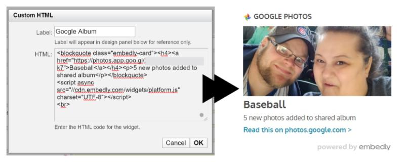 Google Album code and sidebar