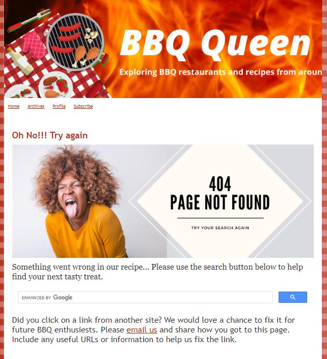 BBQ Queen 404 Error page