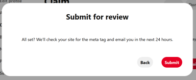 Pinterest Step 4 Submit message