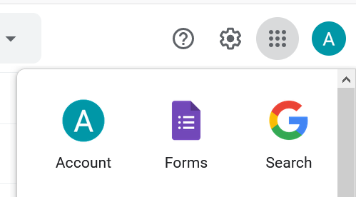 Google Forms in account