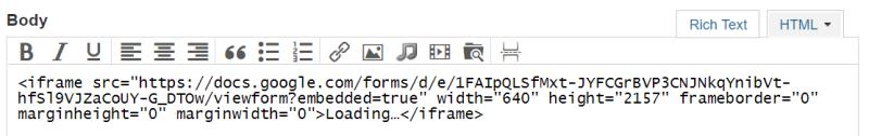 Google Form code in Typepad