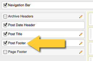 check the post footer checkbox