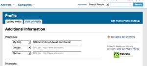 Edition des paramètres de profil dans LinkedIn
