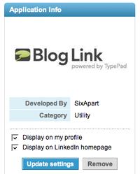 Modification des paramètres d'affichage de Blog Link